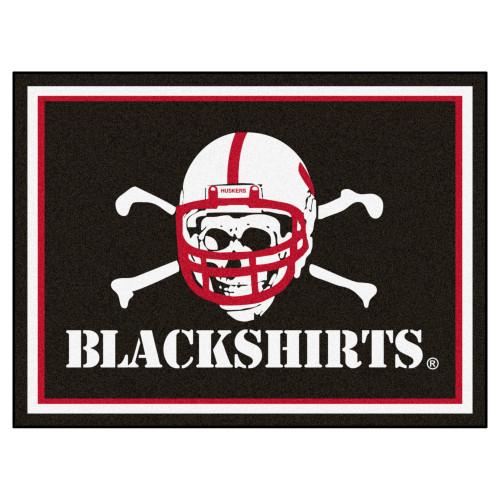 "7.25' x 9.75' White NCAA University of Nebraska ""Blackshirts"" Cornhuskers Plush Rectangular Area Rug - IMAGE 1"