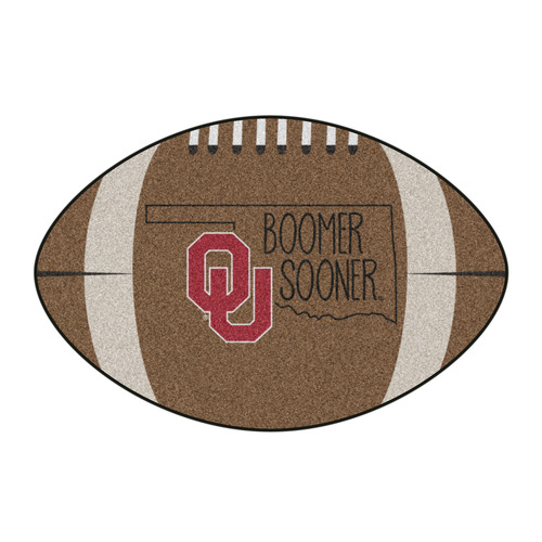 "20.5"" x 32.5"" Brown and Black NCAA University of Oklahoma Sooners Football Shaped Mat Area Rug - IMAGE 1"