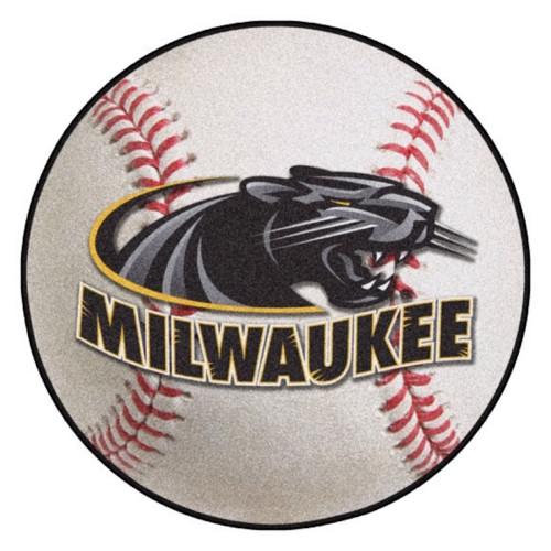 "27"" White and Black NCAA University of Wisconsin-Milwaukee Panthers Baseball Shaped Mat Area Rug - IMAGE 1"