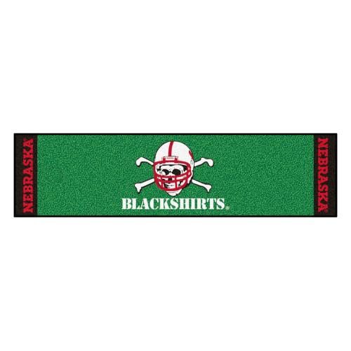 "18"" x 72"" Green and White NCAA University of Nebraska ""Blackshirts"" Cornhuskers Golf Putting Mat - IMAGE 1"