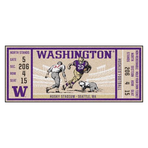 """30"""" x 72"""" Purple NCAA University of Washington Huskies Ticket Non-Skid Mat Area Rug Runner - IMAGE 1"""