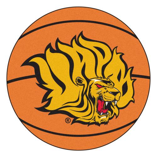 "27"" Orange and Yellow NCAA University of Arkansas at Pine Bluff Golden Lions Basketball Mat Area Rug - IMAGE 1"