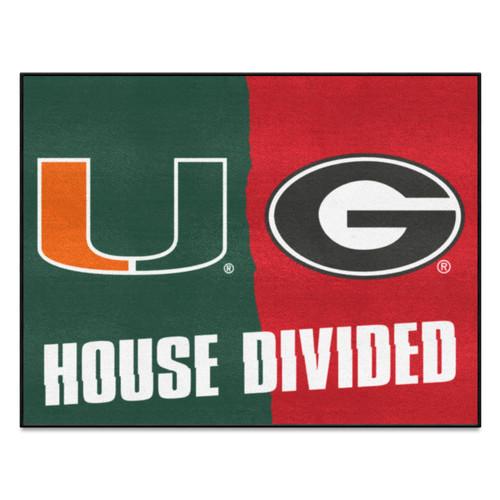 "33.75"" x 42.5"" Green NCAA House Divided Miami and Georgia Mat Area Rug - IMAGE 1"