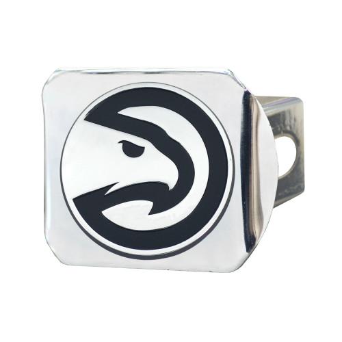 "4"" Silver NBA Atlanta Hawks Chrome Hitch Cover Automotive Accessory - IMAGE 1"