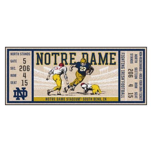 "30"" x 72"" Beige and Yellow NCAA University of Notre Dame Fighting Irish Ticket Mat Area Rug Runner - IMAGE 1"