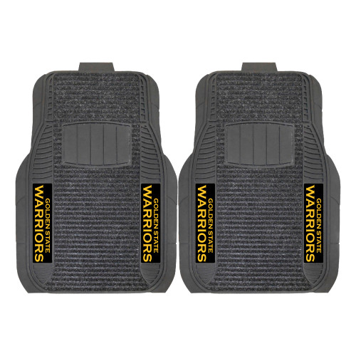 """Set of 2 Gray and Black NBA Golden State Warriors Deluxe Car Mats 21"""" x 27"""" - IMAGE 1"""
