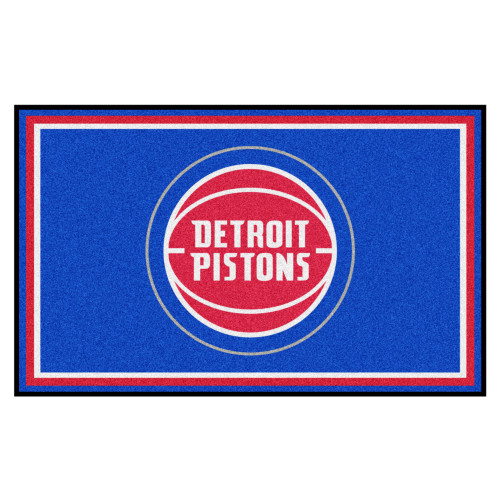 4' x 6' Red and Blue NBA Pistons Plush Non-Skid Area Rug - IMAGE 1