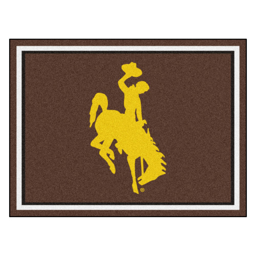 """87"""" x 117"""" Brown and Yellow NCAA University of Wyoming Cowboys Plush Non-Skid Area Rug - IMAGE 1"""