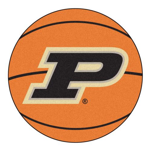 "27"" Orange and Black NCAA Purdue University Boilermakers Basketball Shape Mat Area Rug - IMAGE 1"