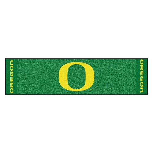 "18"" x 72"" Green and Yellow Contemporary NCAA University of Oregon Ducks Rectangular Golf Mat - IMAGE 1"