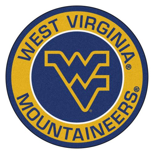 "27"" Yellow and Blue NCAA West Virginia University Mountaineers Rounded Door Mat - IMAGE 1"