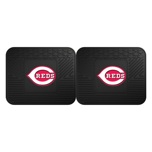 "Set of 2 Black and Red MLB Cincinnati Heavy Duty Rear Car Floor Mats 14"" x 17"" - IMAGE 1"
