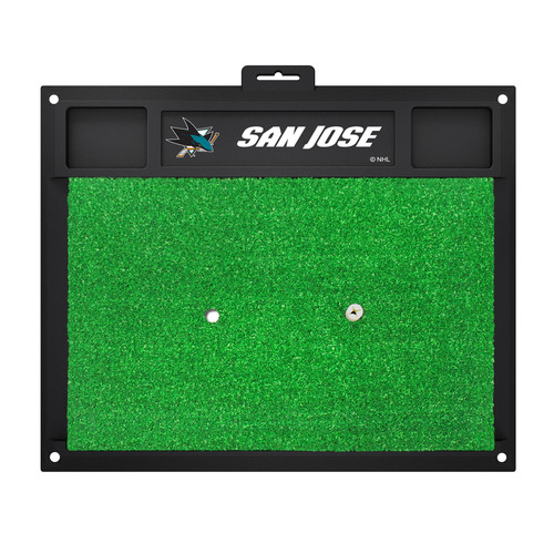 "20"" x 17"" Black and Green NHL ""San Jose"" Sharks Golf Hitting Mat Practice Accessory - IMAGE 1"
