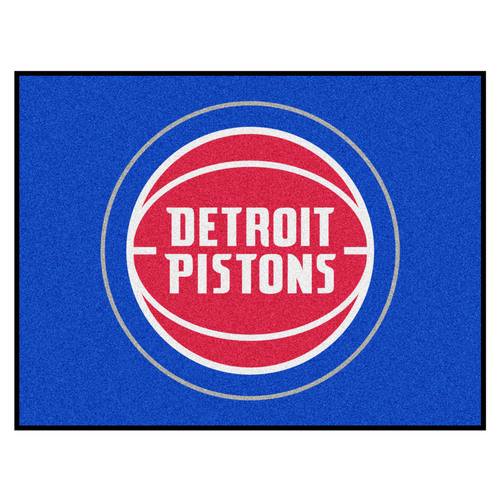"""33.75"""" x 42.5"""" Blue and Red NBA Detroit Pistons Rectangular All-Star Mat Outdoor Area Rug - IMAGE 1"""
