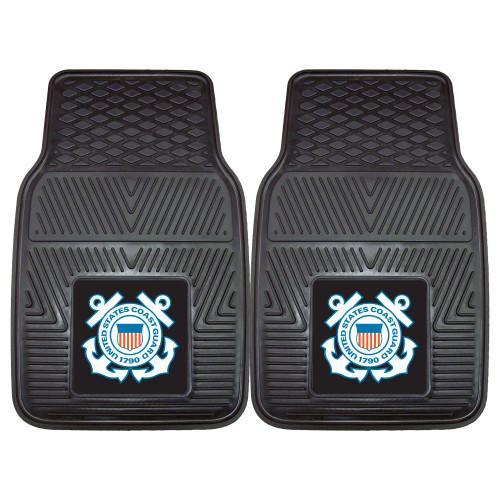 """Set of 2 Black and Blue NBA U.S. Coast Guard Front Car Mat Set 17"""" x 27"""" - IMAGE 1"""