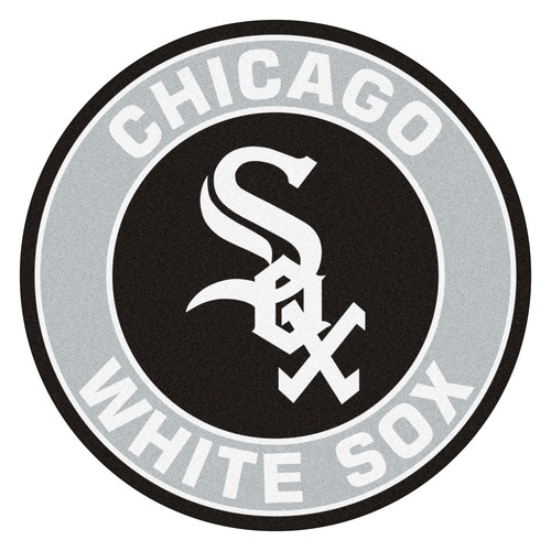 """27"""" Gray and Black MLB Chicago White Sox Rounded Door Mat - IMAGE 1"""