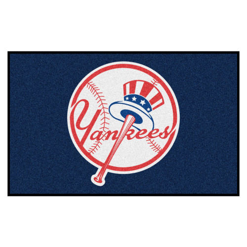 5' x 8' Blue and White Contemporary MLB New York Yankees Rectangular Outdoor Area Rug - IMAGE 1