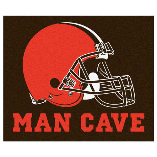 """59.5"""" x 71"""" Brown and Red NFL Cleveland Browns """"Man Cave"""" Tailgater Area Rug - IMAGE 1"""