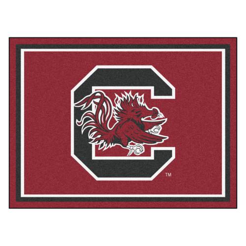 7.25' x 9.75' Black and Red NCAA University of South Carolina Gamecocks Plush Non-Skid Area Rug - IMAGE 1