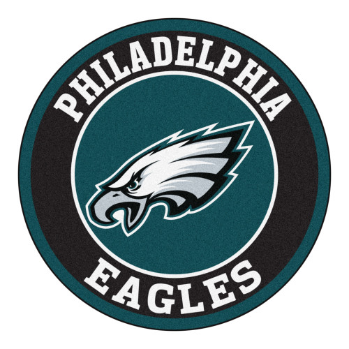 """27"""" Green and Black Contemporary NFL Eagles Round Area Rug - IMAGE 1"""