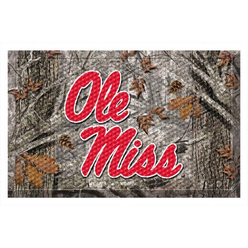 """19"""" x 30"""" Gray and Red NCAA University of Mississippi Rebels Shoe Scraper Door Mat - IMAGE 1"""