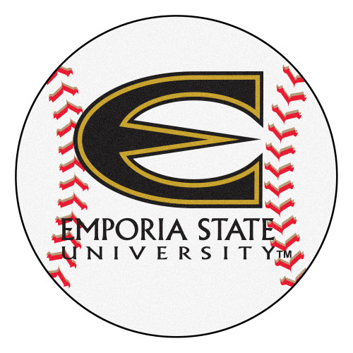 """27"""" White and Red NCAA Emporia State University Hornets Baseball Mat - IMAGE 1"""