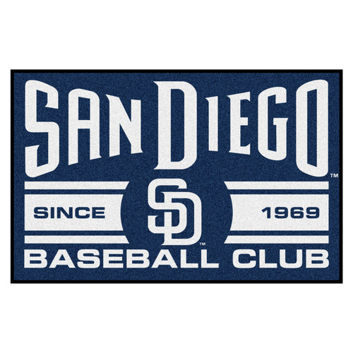 "19"" x 30"" Blue MLB San Diego Padres Starter Mat Rectangular Area Rug - IMAGE 1"