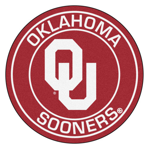 """27"""" Red and White NCAA University of Oklahoma Sooners Rounded Door Mat - IMAGE 1"""
