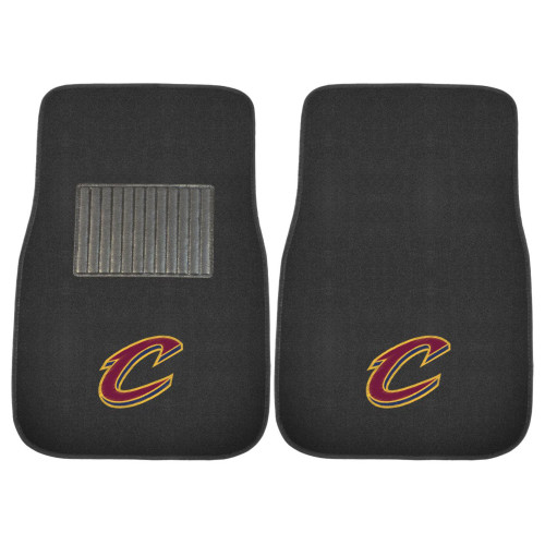 """Set of 2 Black NBA Cleveland Cavaliers Embroidered Car Mats 17"""" x 25.5"""" - IMAGE 1"""