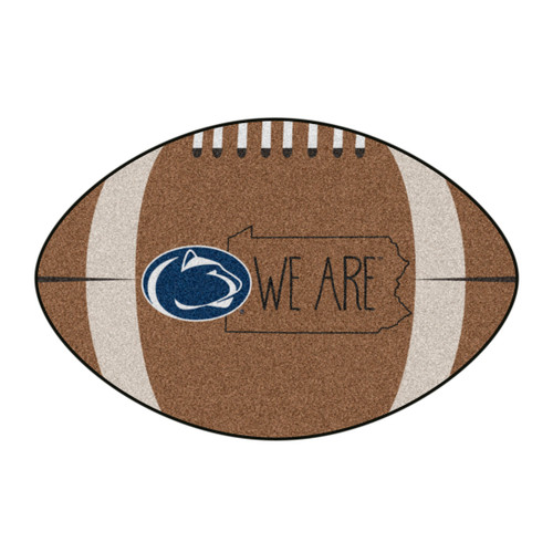"""20.5"""" x 32.5"""" Brown and Blue NCAA Penn State Nittany Lions Football Mat Area Rug - IMAGE 1"""