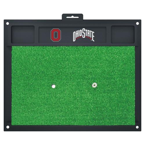 "20"" x 17"" Black and Green NCAA ""Ohio State"" University Buckeyes Golf Hitting Mat Practice Accessory - IMAGE 1"