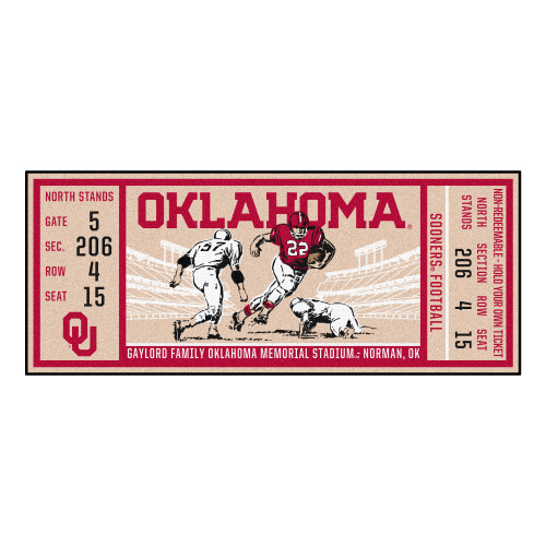 """30"""" x 72"""" Gray and Red NCAA University of Oklahoma Sooners Ticket Mat Area Rug Runner - IMAGE 1"""