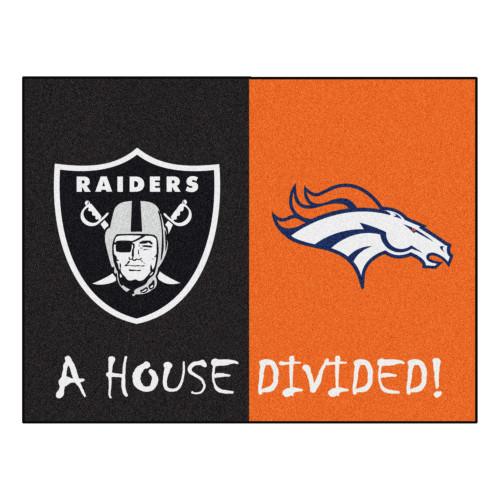 "33.75"" x 42.5"" Orange and Black NFL Raiders - Broncos House Divided Rectangular Door Mat - IMAGE 1"