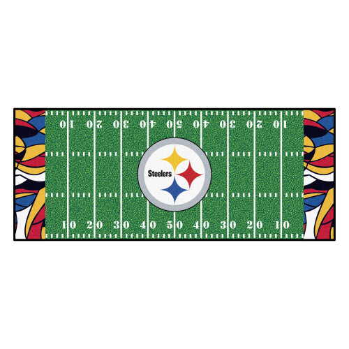 """30"""" x 72"""" Green and White NFL Pittsburgh Steelers Football Field Mat Rectangular Area Rug Runner - IMAGE 1"""