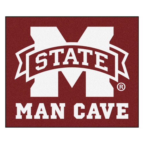 4.9' x 5.9' Red NCAA Mississippi State University Bulldogs Man Cave Tailgater Rectangular Area Rug - IMAGE 1