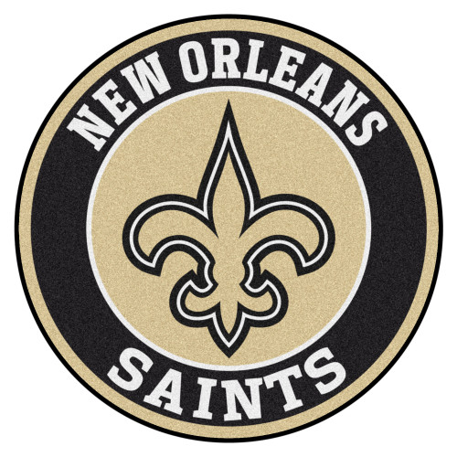 """27"""" Beige and Black Contemporary NFL Saints Round Area Rug - IMAGE 1"""
