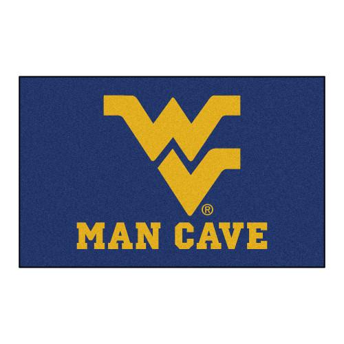 "59.5"" x 94.5"" Blue and Yellow NCAA West Virginia University Mountaineers Rectangular Mat Area Rug - IMAGE 1"