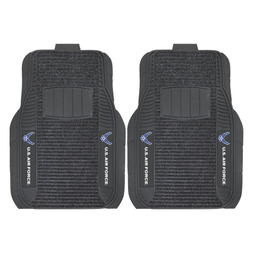 """21"""" x 27"""" Set of 2 Black and White Solid US Air Force Front Car Mats - IMAGE 1"""