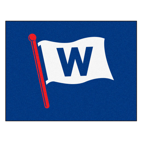 """33.75"""" x 42.5"""" Blue and White MLB Chicago Cubs Rectangular All-Star Mat Outdoor Area Rug - IMAGE 1"""