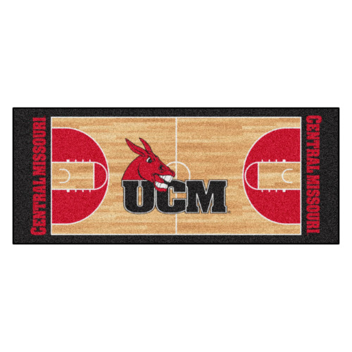 """30"""" x 72"""" Beige and Red NCAA Missouri Mules Basketball Court Mat Area Rug Runner - IMAGE 1"""