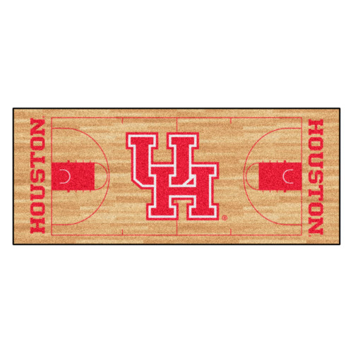 """30"""" x 72"""" Red and Brown NCAA University of Houston Cougars Basketball Court Mat Area Rug Runner - IMAGE 1"""