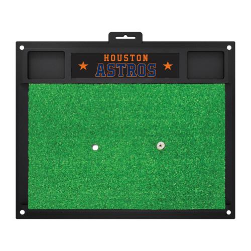 "17"" x 20"" Black and Green MLB Houston Astros Golf Hitting Mat - IMAGE 1"