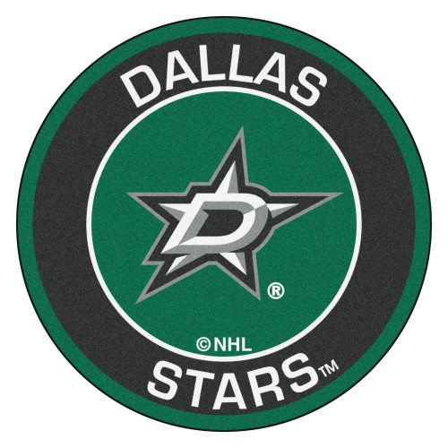"""27"""" Green and Black NHL Dallas Stars Rounded Door Mat - IMAGE 1"""
