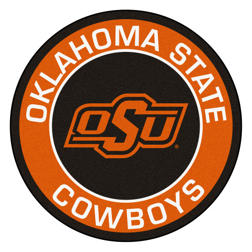 """27"""" Orange and Brown NCAA Oklahoma State University Cowboys Rounded Door Mat - IMAGE 1"""