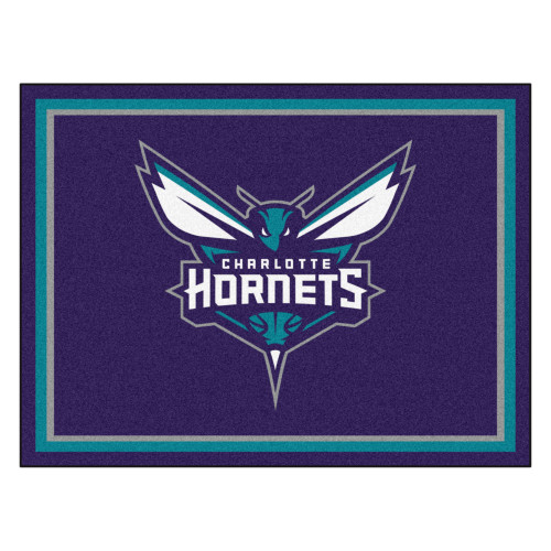 7.25' x 9.75' Turquoise Blue and White NBA Charlotte Hornets Plush Non-Skid Area Rug - IMAGE 1