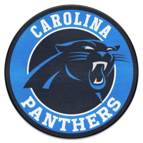 """27"""" Black and Blue NFL Carolina Panthers Roundel Door Mat - IMAGE 1"""