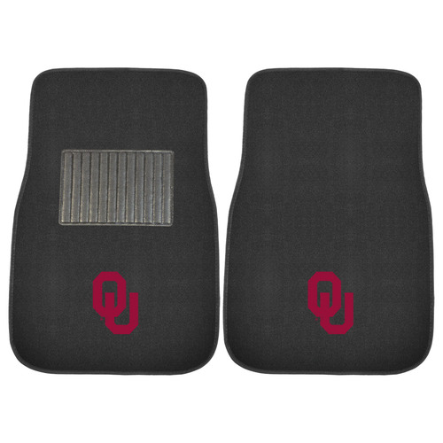 "Set of 2 Black and Red NCAA University of Oklahoma Sooners Car Mats 17"" x 25.5"" - IMAGE 1"