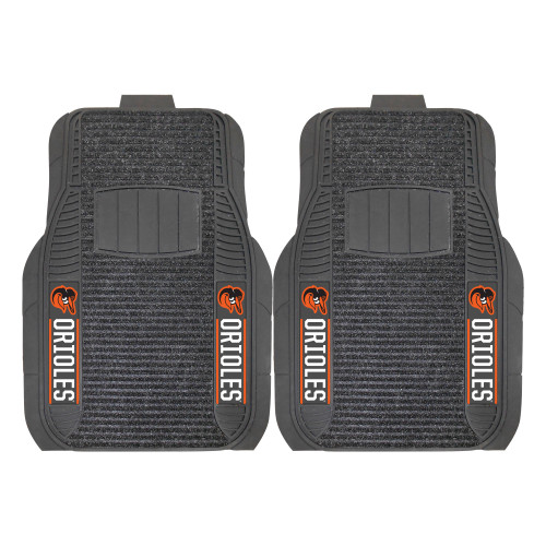 """Set of 2 Gray and Orange MLB Baltimore Orioles Front Car Mats 21"""" x 27"""" - IMAGE 1"""