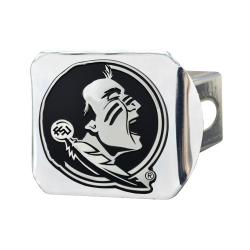 """4"""" x 3.25"""" Silver and Black NCAA Florida State University Seminoles Hitch Cover Automotive Accessory - IMAGE 1"""