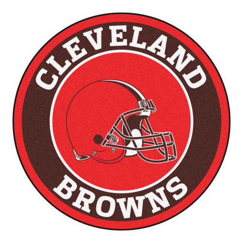 """27"""" Black and Red NFL Cleveland Browns Round Door Mat - IMAGE 1"""